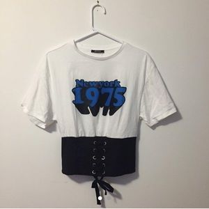 Graphic tee with corset